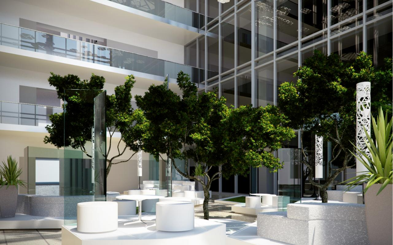 Eichler atrium fountain houzz atrium decor home home ideas for Atrium design and decoration