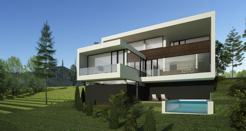 Proiect casa moderna si piscina concept design casa moderna si piscina pe teren ingust cod for Casa cub moderne