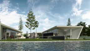 Ansamblu Rezidential cu 8 Locuinte Buftea, Ilfov  | Concept Design finalizat pentru ansamblu cu 8 locuinte moderne cu 4 cuplate si 4 independente din care 2 cu deschidere spre lac cod RKBI in Buftea, IF | Proiect din portofoliul CUB Architecture