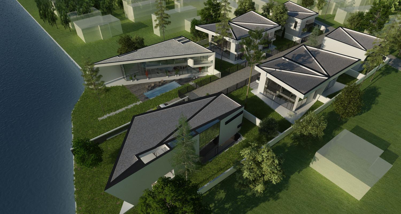 Ansamblu Rezidential cu 8 Locuinte Buftea, Ilfov  | Concept Design finalizat pentru ansamblu cu 8 locuinte moderne cu 4 cuplate si 4 independente din care 2 cu deschidere spre lac cod RKBI in Buftea | Proiect din portofoliul CUB Architecture