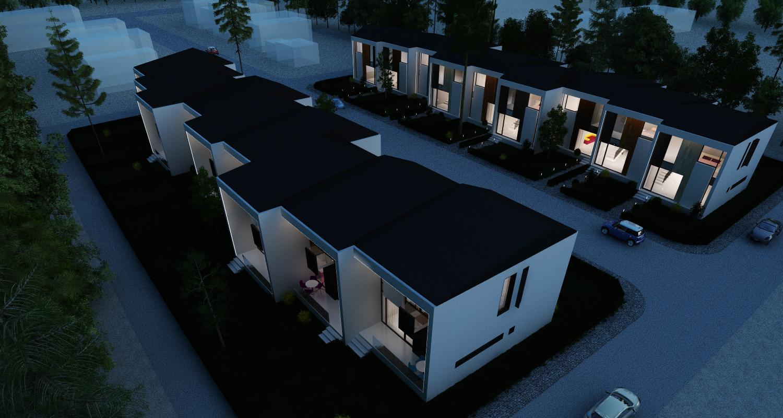Proiect Ansamblu Rezidential cu 18 Case Cuplate Insiruite | Concept Design Ansamblu Rezidential cu doua unitati distincte a cate 9 Case Insiruite cod MOBU in Buftea, IF | proiect din portofoliul CUB Architecture