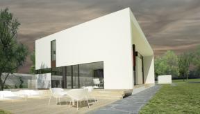 Proiect Locuinta Moderna minimalista cu Atrium deschis pe doua nivele casa moderna cod CAA in Alexandria Teleorman