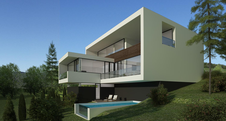 Proiect casa moderna si piscina concept design casa for Casa moderna in moldova