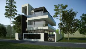 Proiect Locuinta Moderna cu Piscina casa moderna pe teren ingust cod MMR in Magurele Ilfov