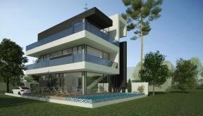 Proiect Locuinta Moderna cu Piscina casa moderna pe teren ingust cod MMR in Magurele