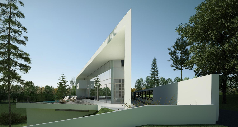 Proiect Locuinta Moderna casa moderna si piscina pe teren ingust cod CAV Poiana Brasov