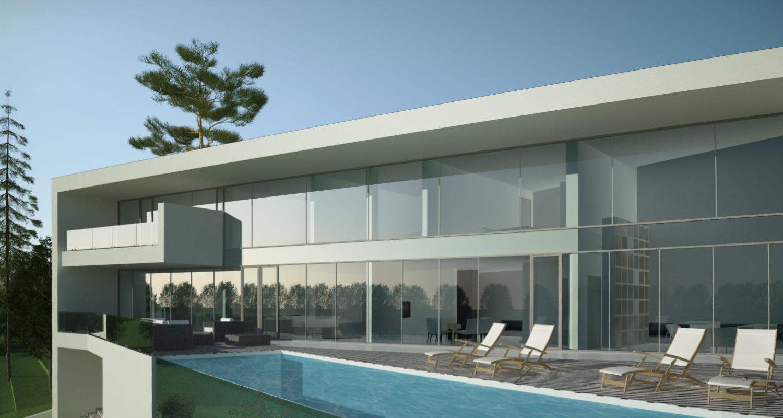 Proiect Locuinta Moderna si piscina pe teren inclinat cod CAV Poiana Brasov