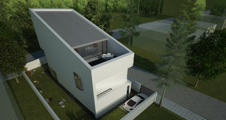 Proiect Casa Minimalista | Concept Design casa moderna pe teren ingust cod DDR | Proiect din portofoliul CUB Architecture