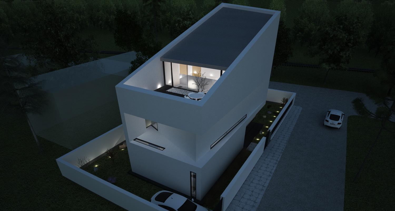 Proiect Casa Moderna Minimalista | Concept Design casa moderna pe teren ingust cod DDR | Proiect din portofoliul CUB Architecture