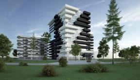 Ansamblu rezidential si comercial Vacaresti Bucuresti | Concept Design bloc de locuinte modern cu apartamente si spatii comerciale cod VCRB - proiect cu 4 unitati distincte cu inaltimi diferite; parter comercial