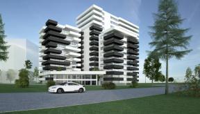 Ansamblu rezidential si comercial Vacaresti Bucuresti | Concept Design bloc de locuinte modern cu apartamente si spatii comerciale cod VCRB in Bucuresti  - proiect cu subsol general pe doua nivele si 4 unitati distincte cu inaltimi diferite; parter comerc