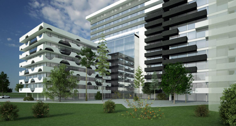 Ansamblu rezidential si comercial Vacaresti Bucuresti, S4 | Concept Design bloc de locuinte modern cu apartamente si spatii comerciale cod VCRB in Bucuresti, S4  - proiect cu subsol general pe doua nivele si 4 unitati distincte cu inaltimi diferite; parte