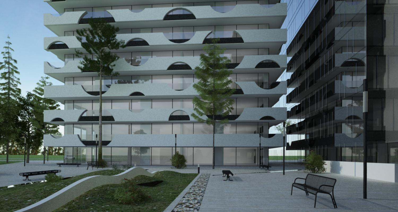 Ansamblu rezidential si comercial Vacaresti Bucuresti | Concept Design bloc de locuinte modern cu apartamente si spatii comerciale cod VCRB - proiect cu subsol general pe doua nivele si 4 unitati distincte cu inaltimi diferite; parter comercial